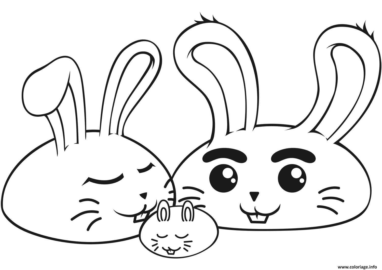 Dessin famille de lapin kawaii Coloriage Gratuit à Imprimer