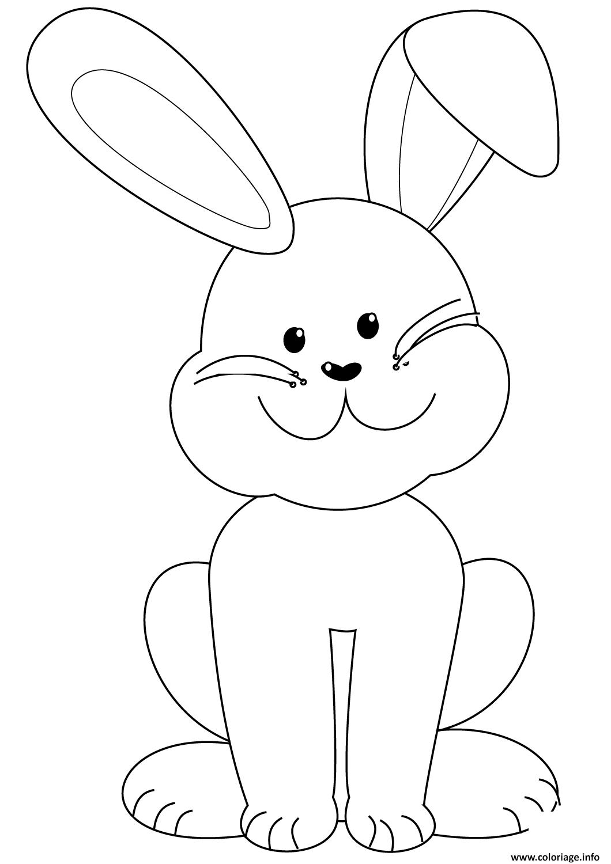 Dessin lapin de paques tres sympathique Coloriage Gratuit à Imprimer