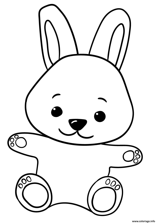 Dessin bebe lapin tres mignon pour enfants Coloriage Gratuit à Imprimer