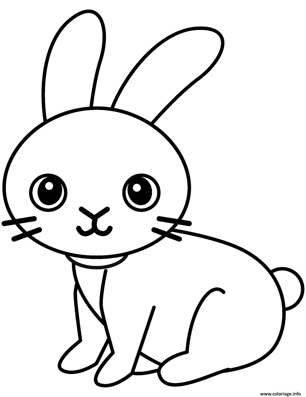 Dessin adorable lapin en nature avec de gros yeux Coloriage Gratuit à Imprimer