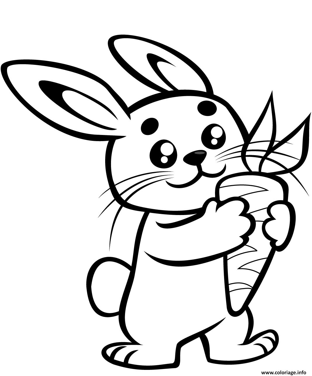 Dessin adorable lapin avec une carotte Coloriage Gratuit à Imprimer