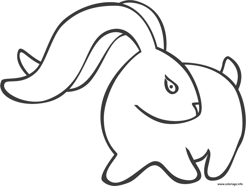 Dessin lapin style avec de longues oreilles Coloriage Gratuit à Imprimer