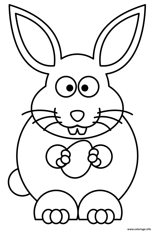 Dessin lapin paques avec un oeuf facile Coloriage Gratuit à Imprimer