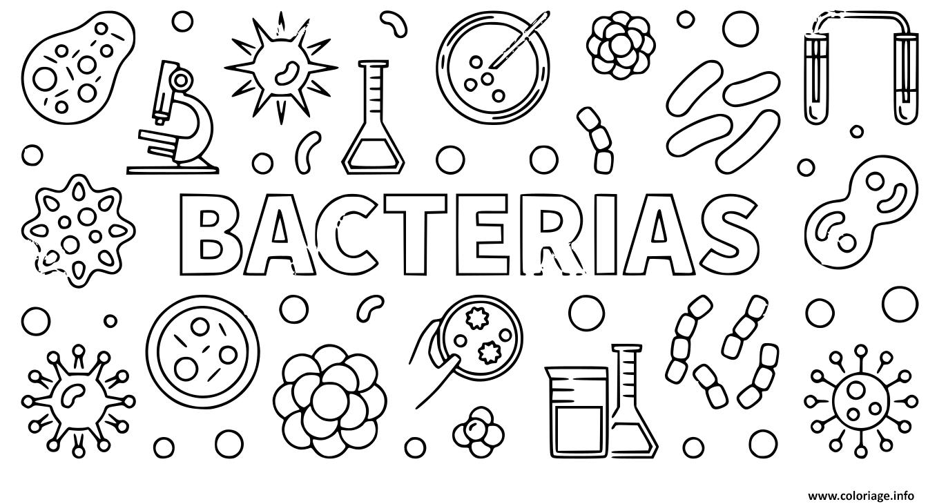 Dessin bacterias codvid 19 coronavirus Coloriage Gratuit à Imprimer