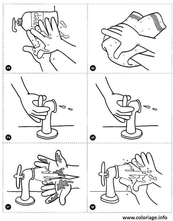 Dessin comment se laver les mains etape par etape Coloriage Gratuit à Imprimer