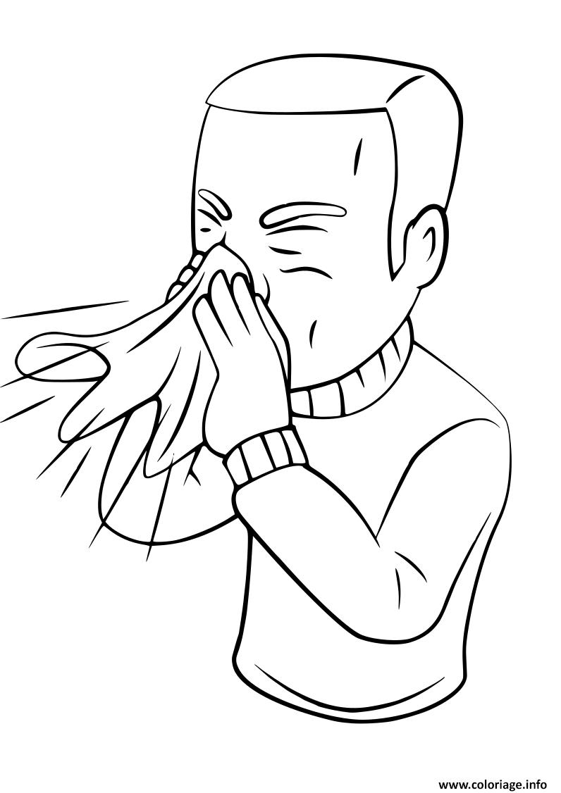 Dessin sneezing man cartoon character Coloriage Gratuit à Imprimer