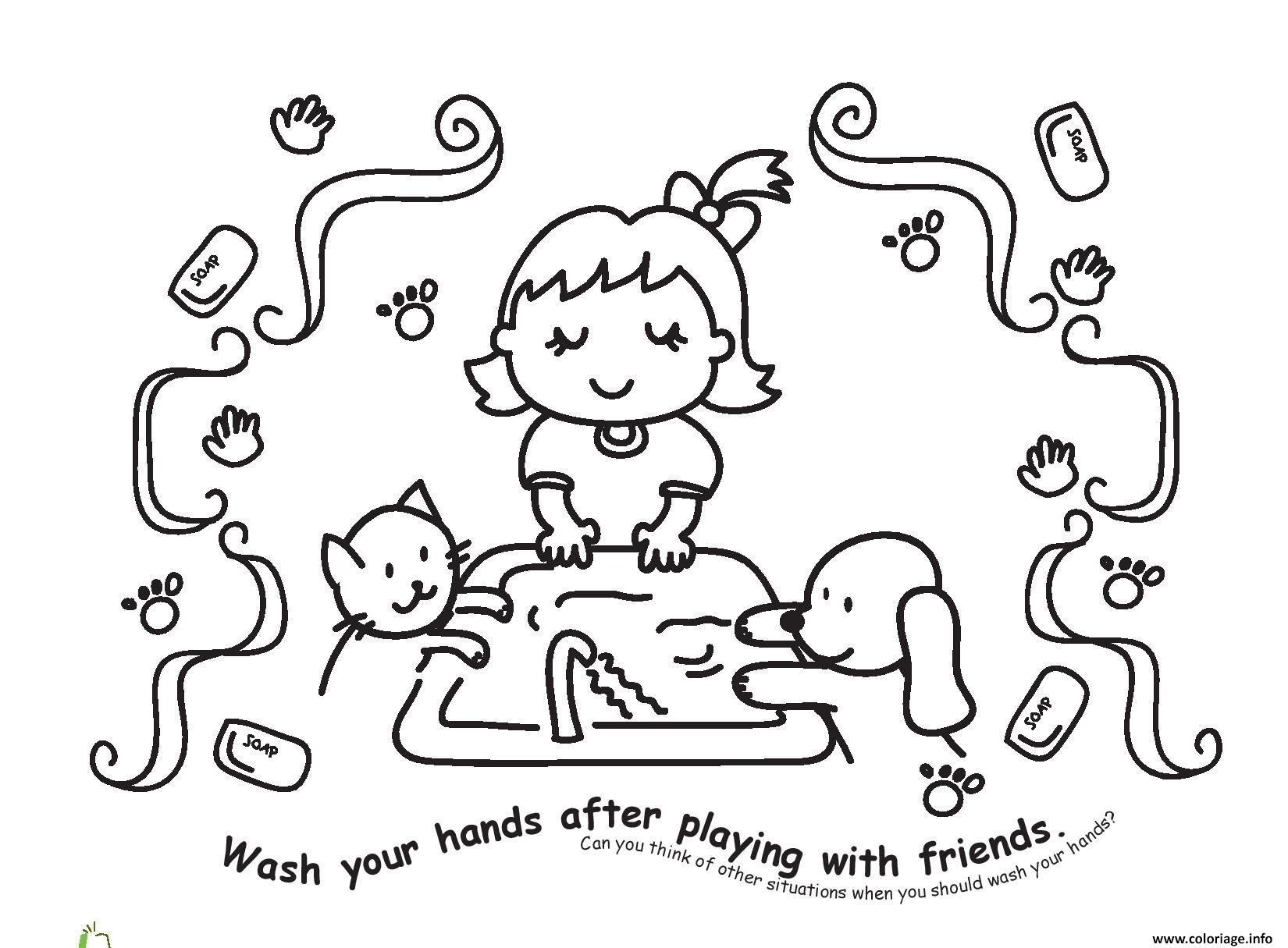 Dessin laver les mains apres avoir jouer avec nos amis Coloriage Gratuit à Imprimer