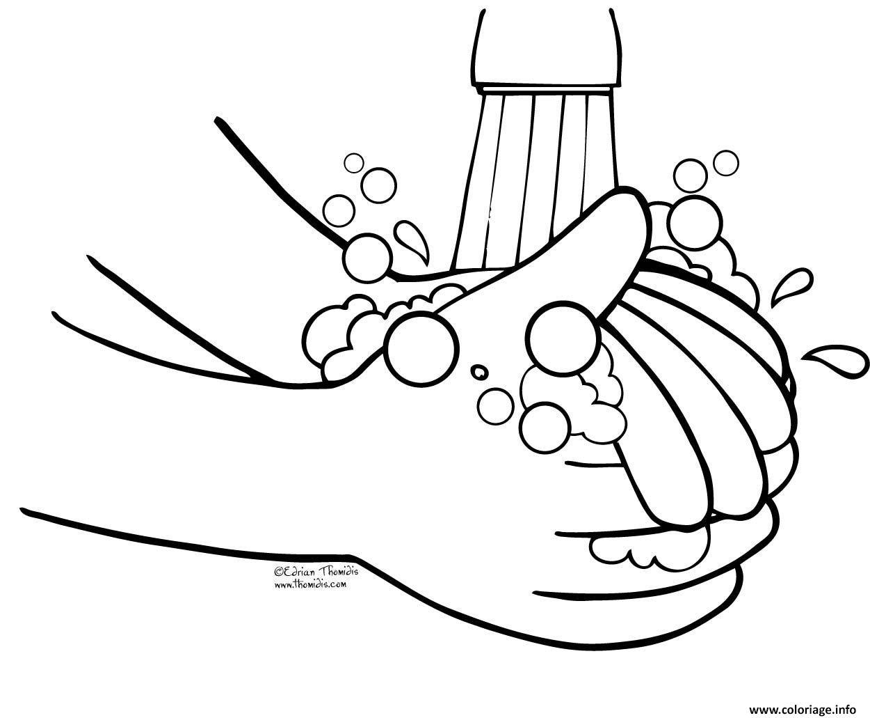 Dessin laver les mains enfants Coloriage Gratuit à Imprimer