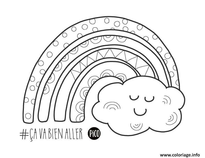 Dessin Arc en ciel avec un nuage souriant Coloriage Gratuit à Imprimer