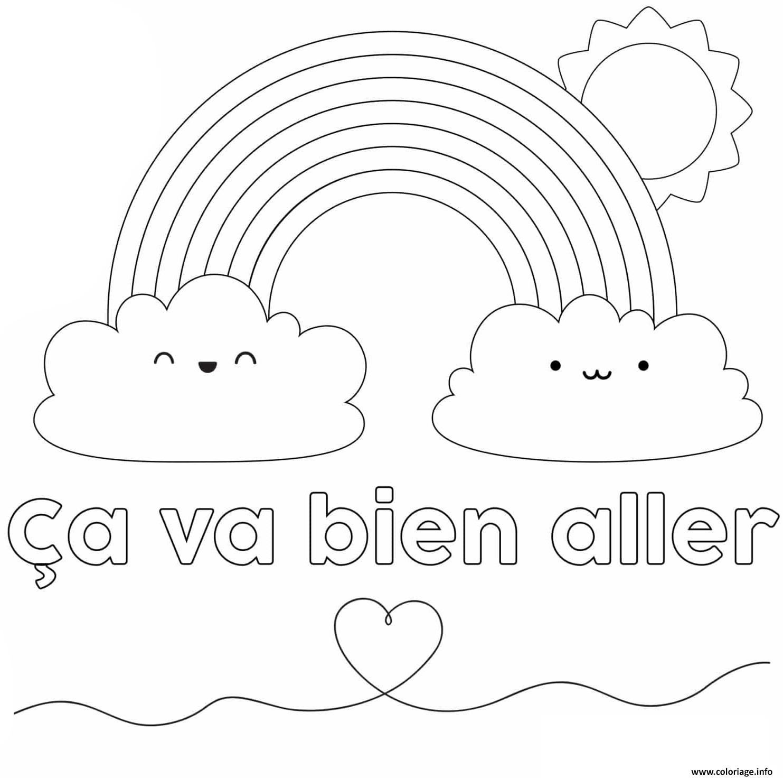 Dessin Ca va bien aller avec nuage soleil et coeur Coloriage Gratuit à Imprimer