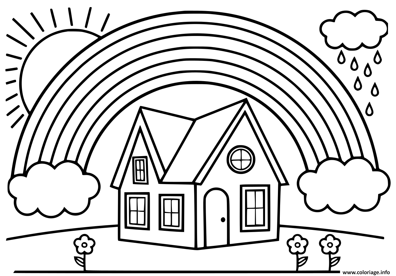 Coloriage arc en ciel avec une maison - JeColorie.com