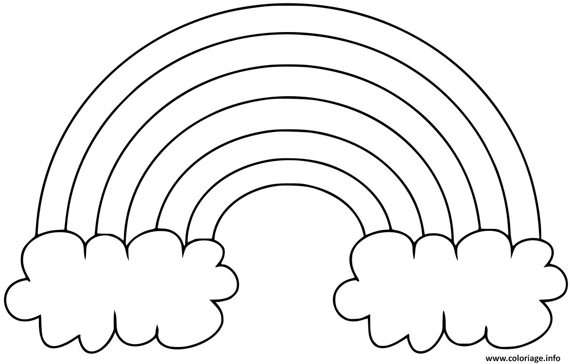 Coloriage Arc En Ciel Simple Deux Nuages Dessin Arc En Ciel A Imprimer