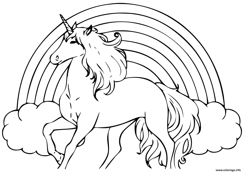 Coloriage Arc En Ciel Avec Une Licorne dessin