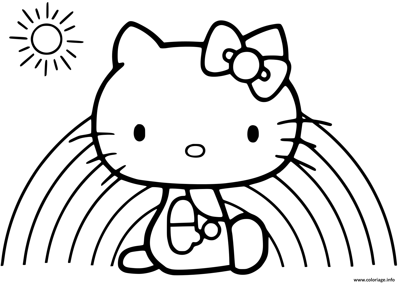 Coloriage hello kitty devant un arc en ciel et un soleil ...