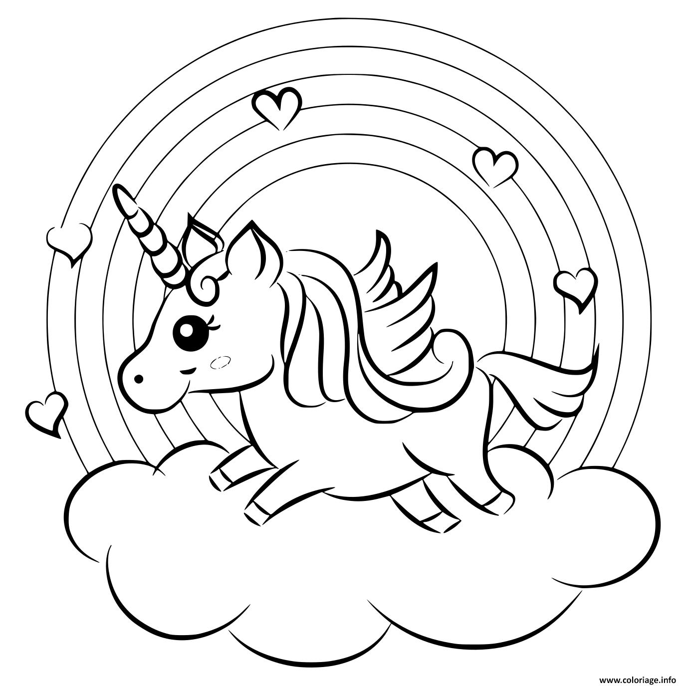 Coloriage arc en ciel avec une licorne sur un nuage ...