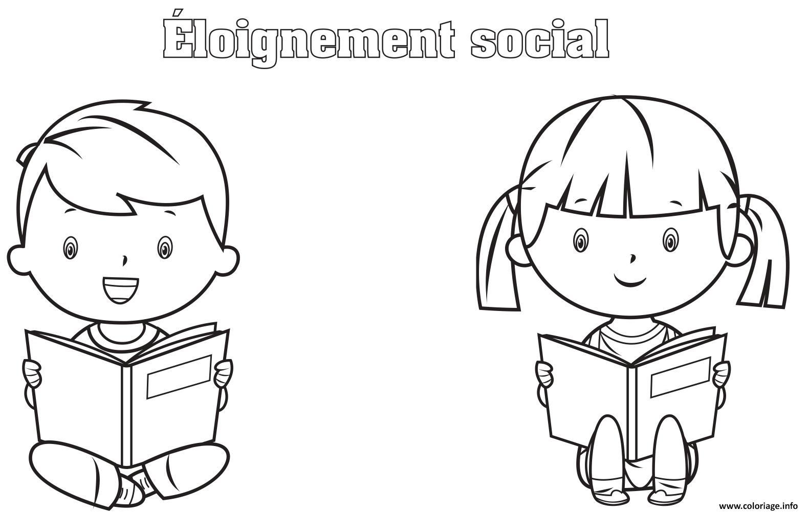 Dessin lire un livre tout en maintenant un eloignement social Coloriage Gratuit à Imprimer