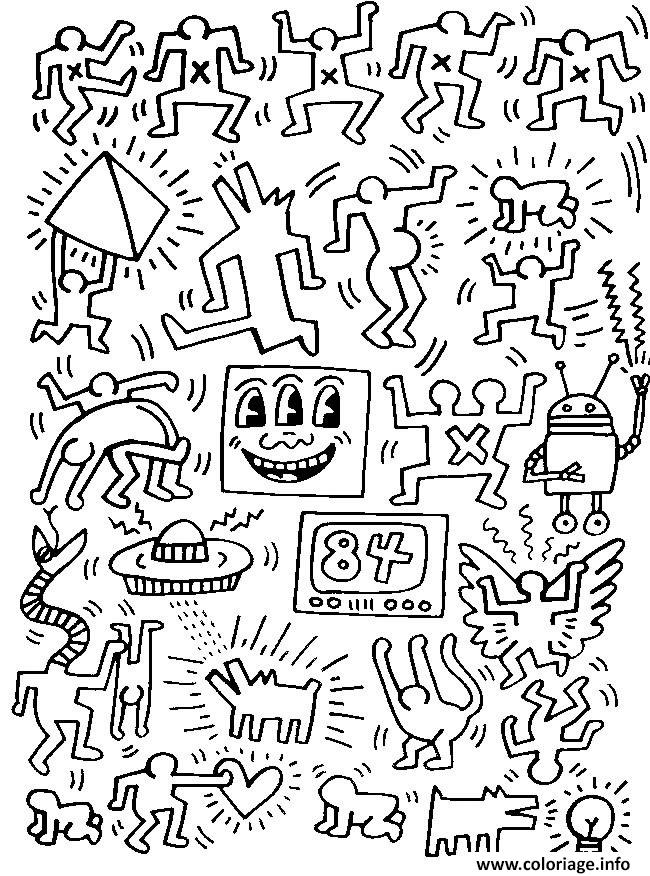 Coloriage Keith Haring 7 Jecolorie Com