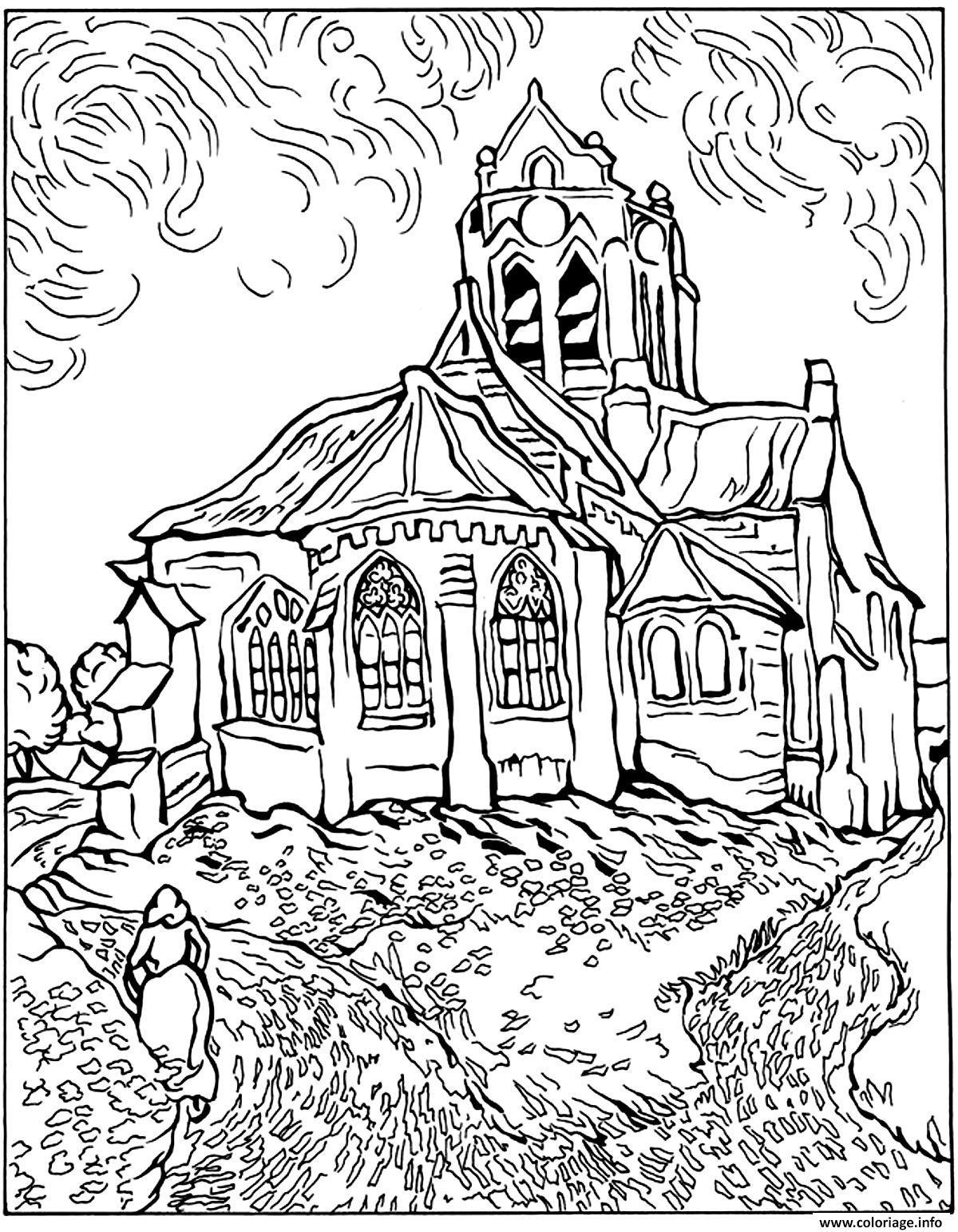 Coloriage Difficile Van Gogh Eglise Auvers Jecolorie Com