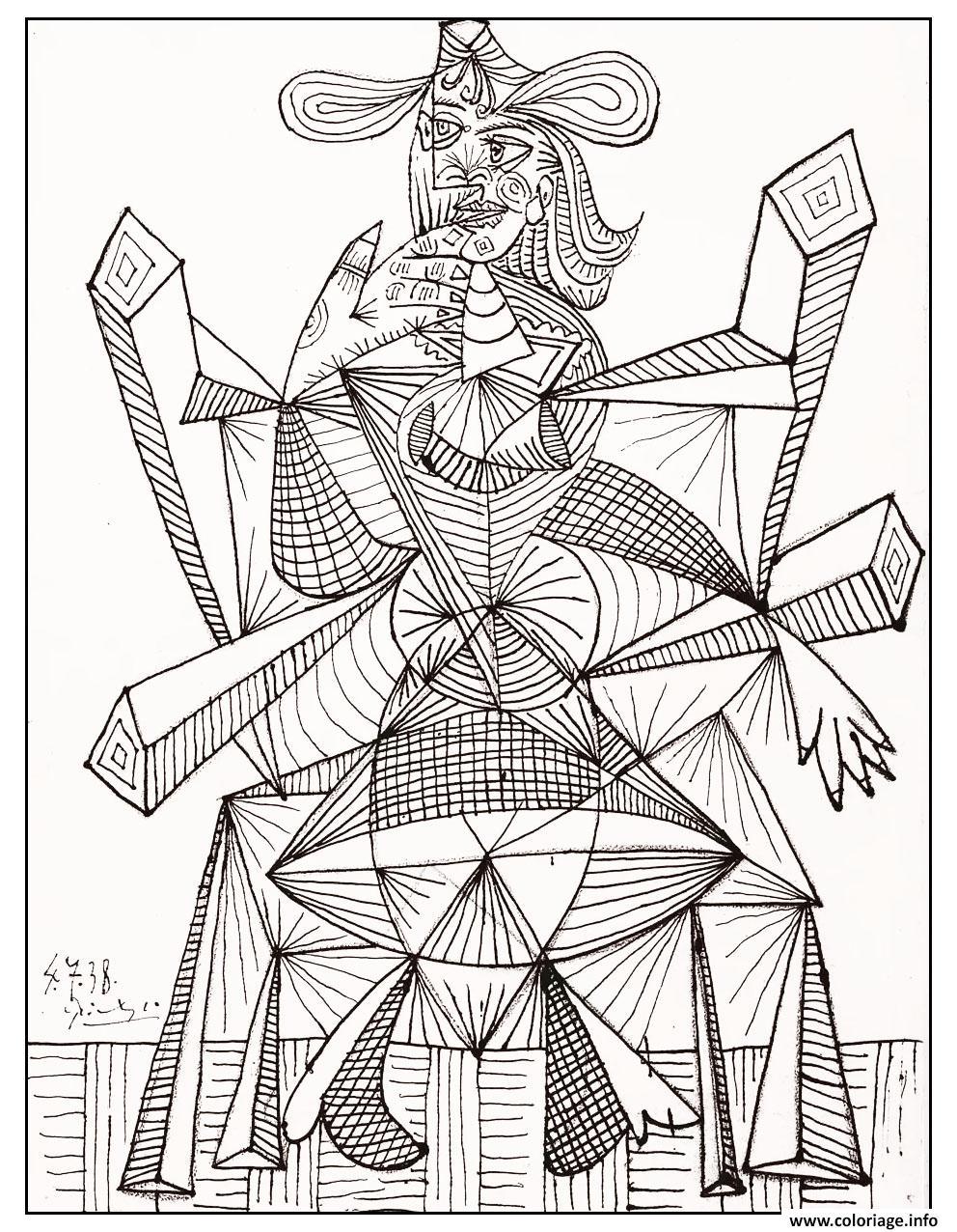 Coloriage Dessin Noir Blanc Picasso De 1938 Jecolorie Com