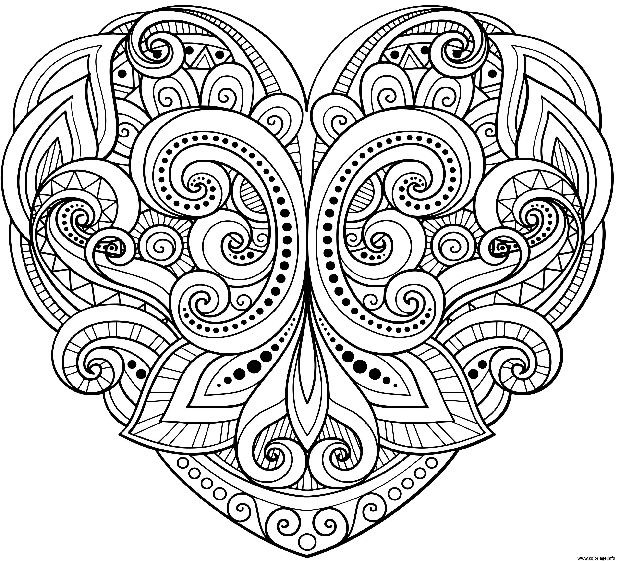 Coloriage Mandala En Forme De Coeur Floral Et Motifs Varies Dessin ...