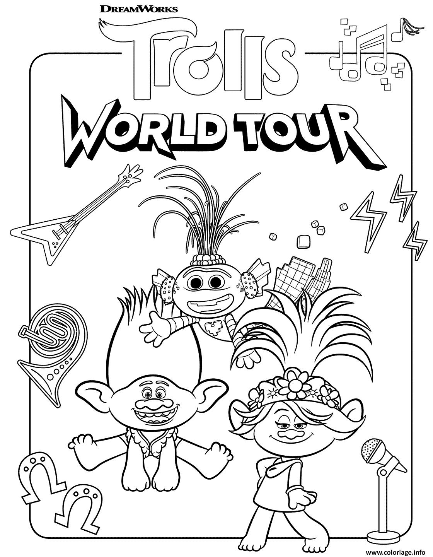 Coloriage Super Trolls 2 World Tour Dessin Trolls A Imprimer