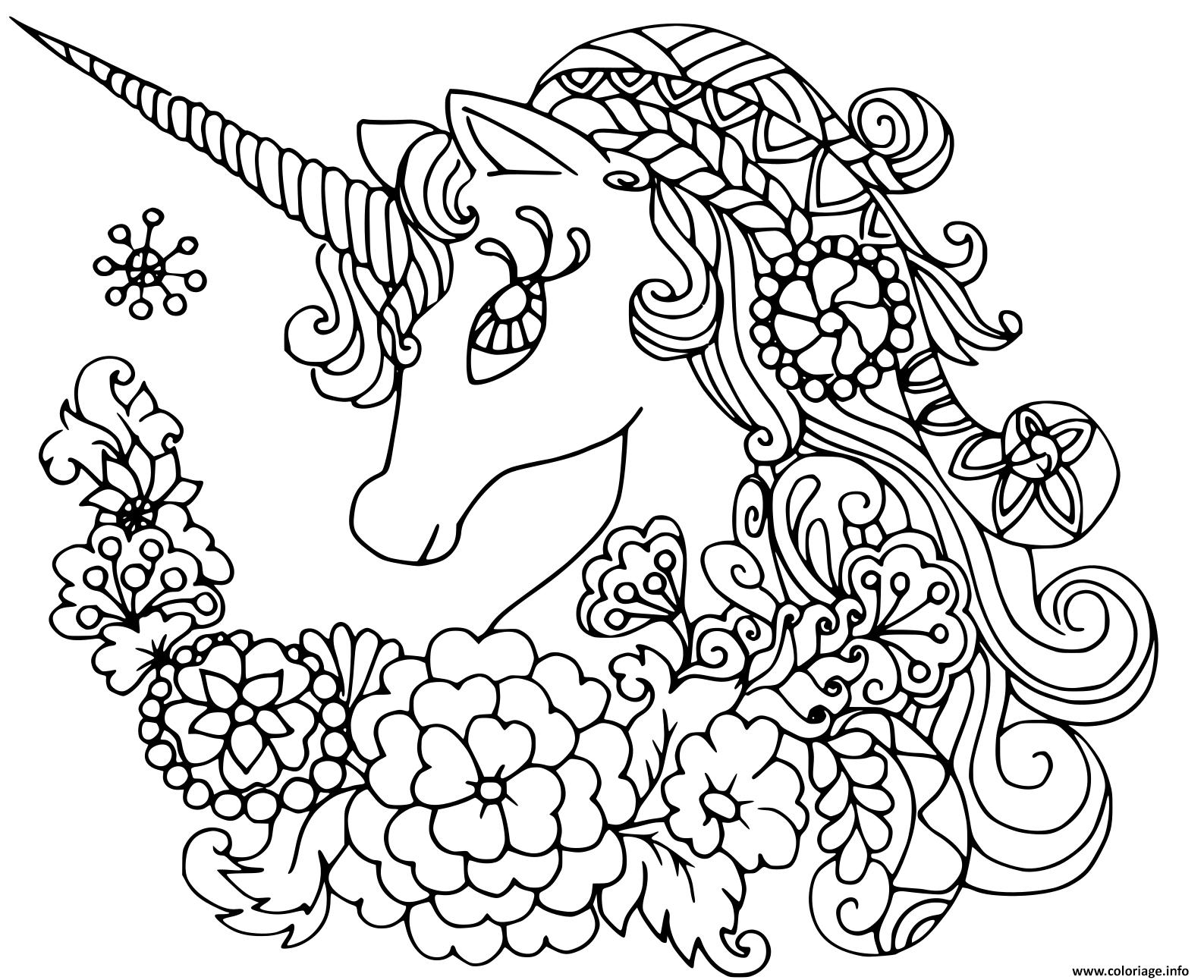 Coloriage Licorne Mandala Avec De Jolies Fleurs Dessin ...