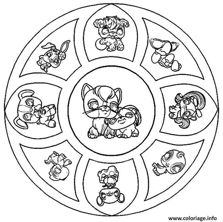 Coloriage Mandala Animaux Petshop Dessin Mandala Animaux à ...