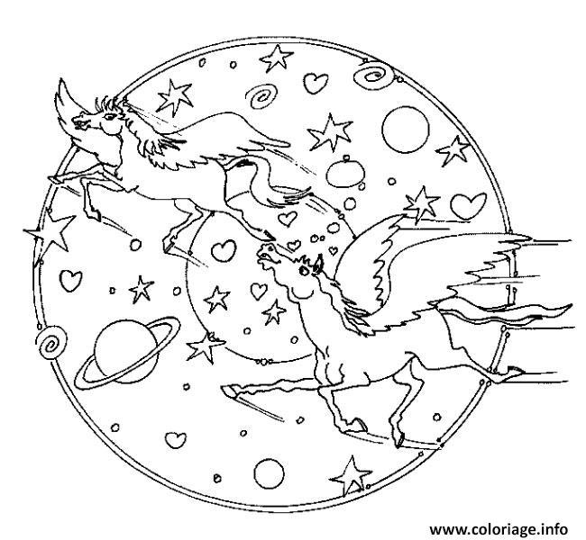 Coloriage Mandala Licorne Univers Pres Des Etoiles Et Planetes Jecolorie Com