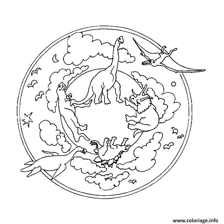 Coloriage Mandala Simple Dinosaures Pour Enfants Jecolorie Com
