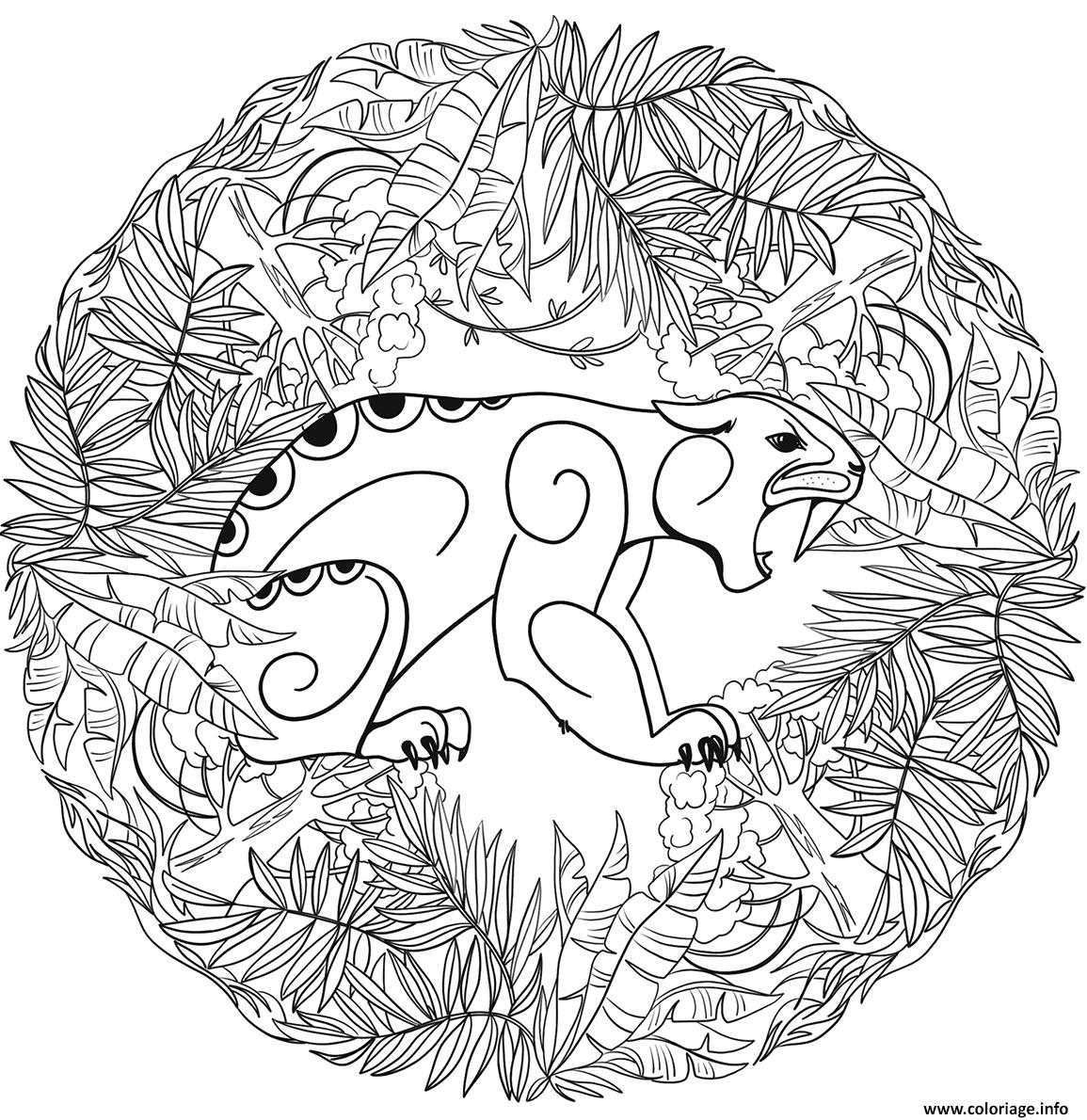 Coloriage Jaguar Mandala Par Lesya Adamchuk Dessin Mandala Animaux A Imprimer