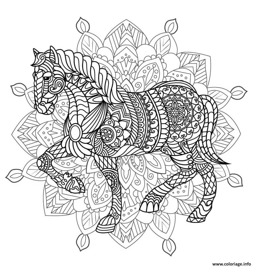 Coloriage mandala animaux cheval difficile - JeColorie.com