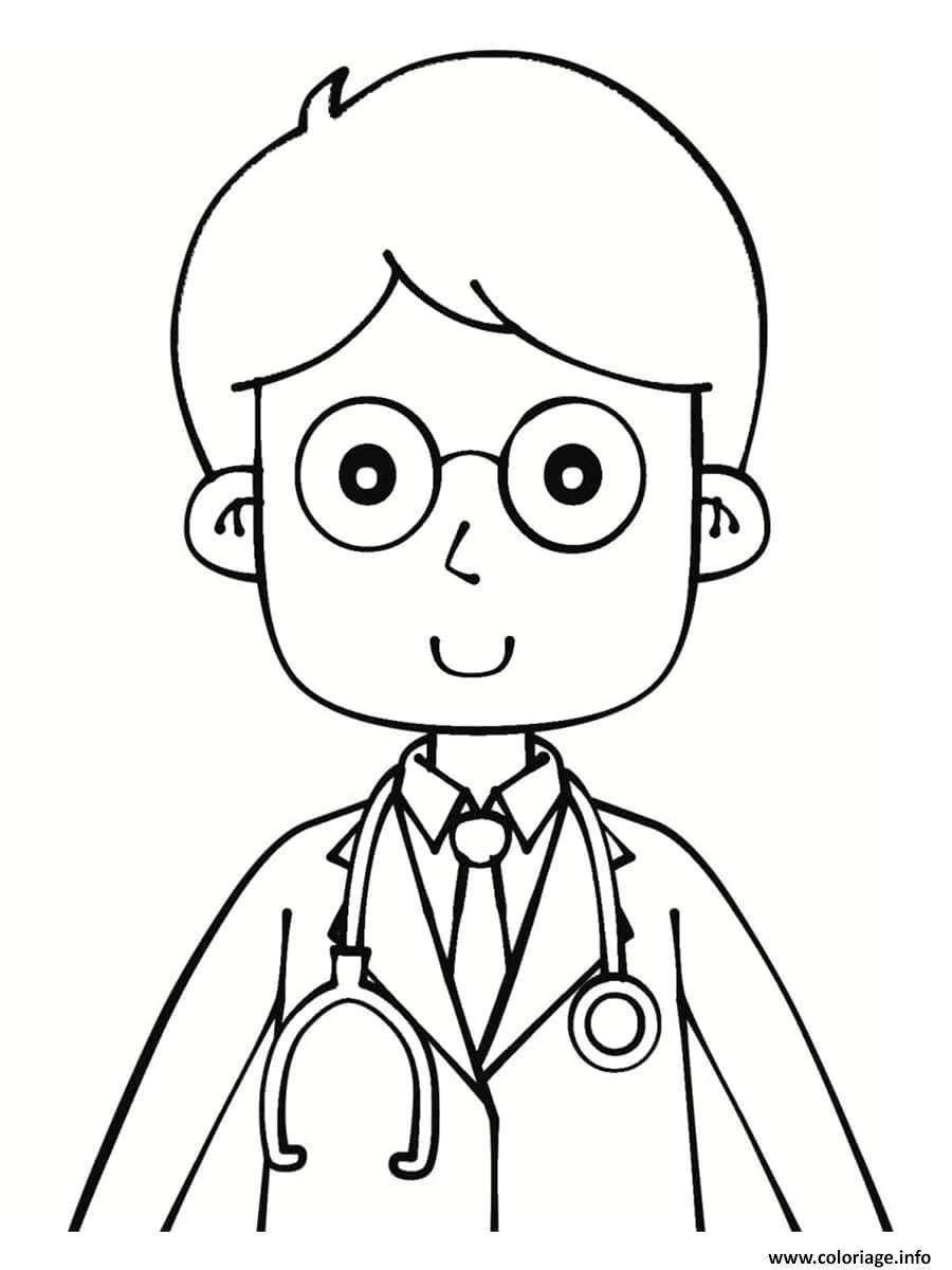 Dessin docteur avec des lunettes Coloriage Gratuit à Imprimer