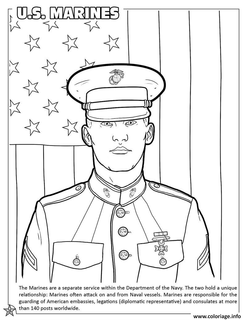 Dessin Armed Forces US Marines Coloriage Gratuit à Imprimer