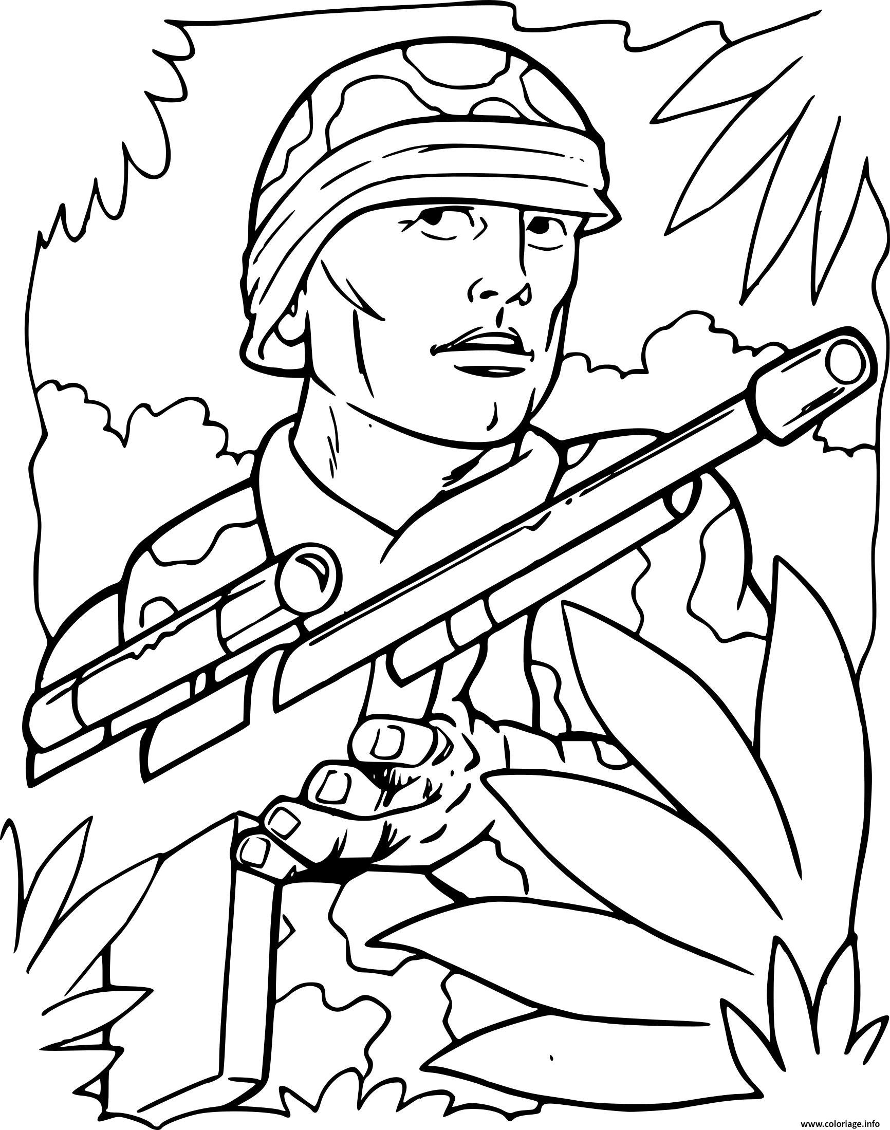 Coloriage Soldat De Guerre Dans La Foret dessin