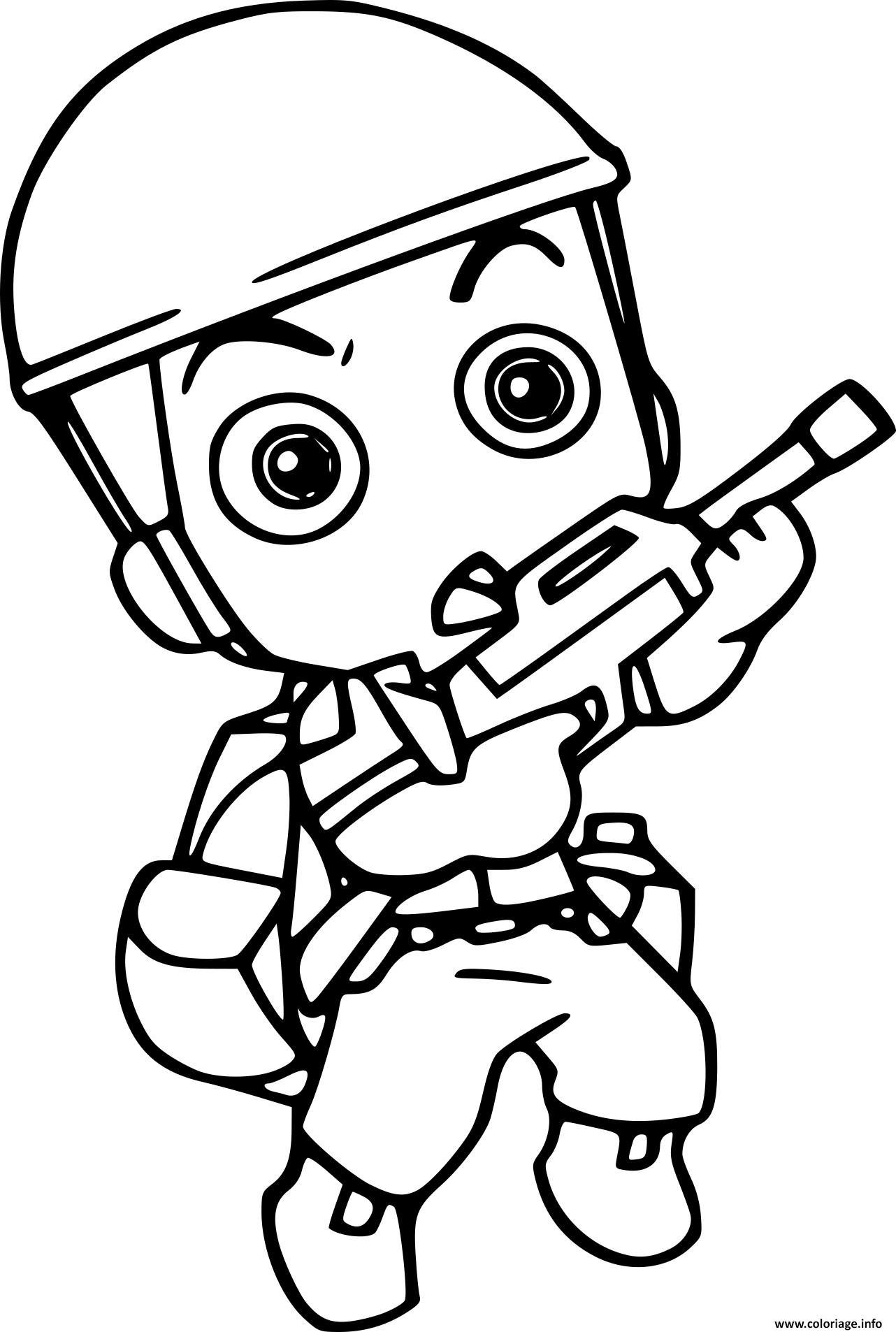 Dessin mini soldat militaire avec arme Coloriage Gratuit à Imprimer