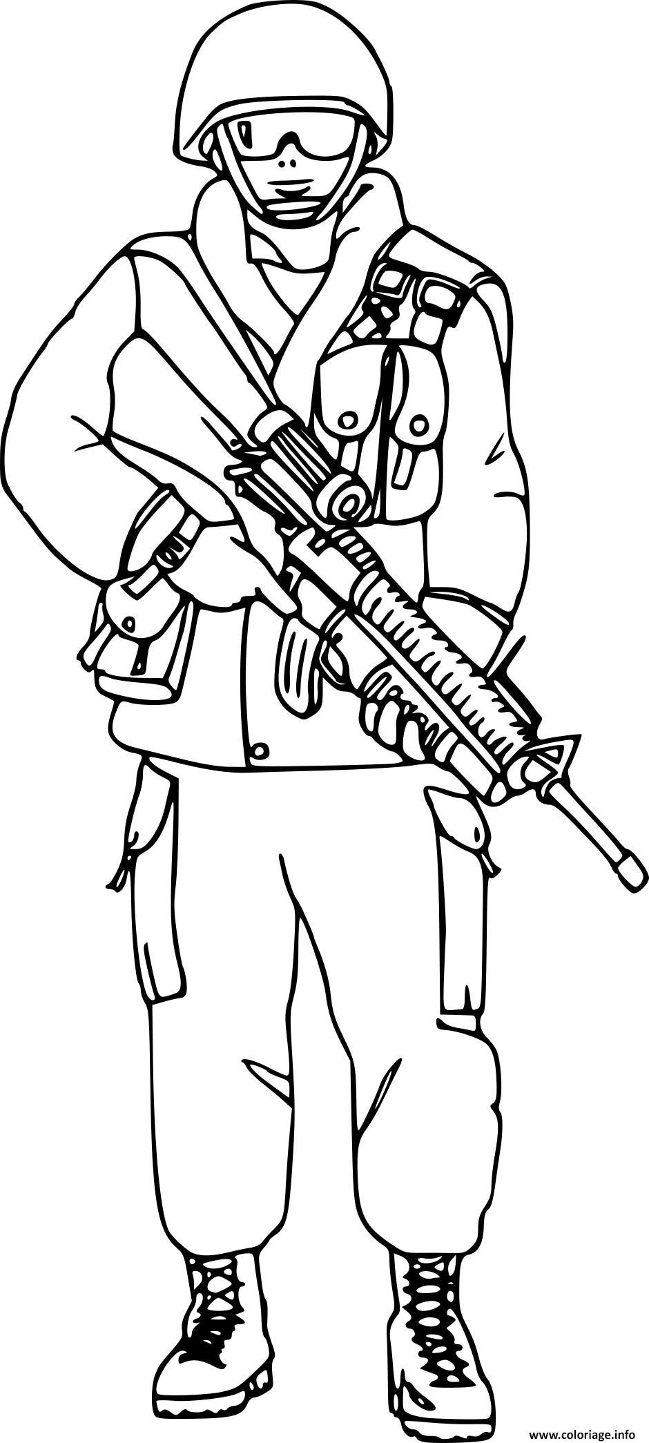 Dessin soldat militaire avec lunette Coloriage Gratuit à Imprimer