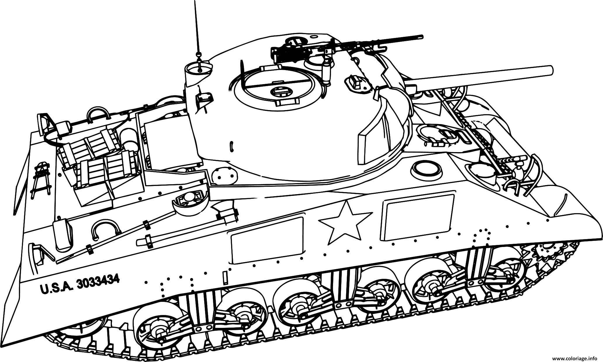 Coloriage Tank Char Dassault Armee Americaine Usa Dessin Militaire A Imprimer