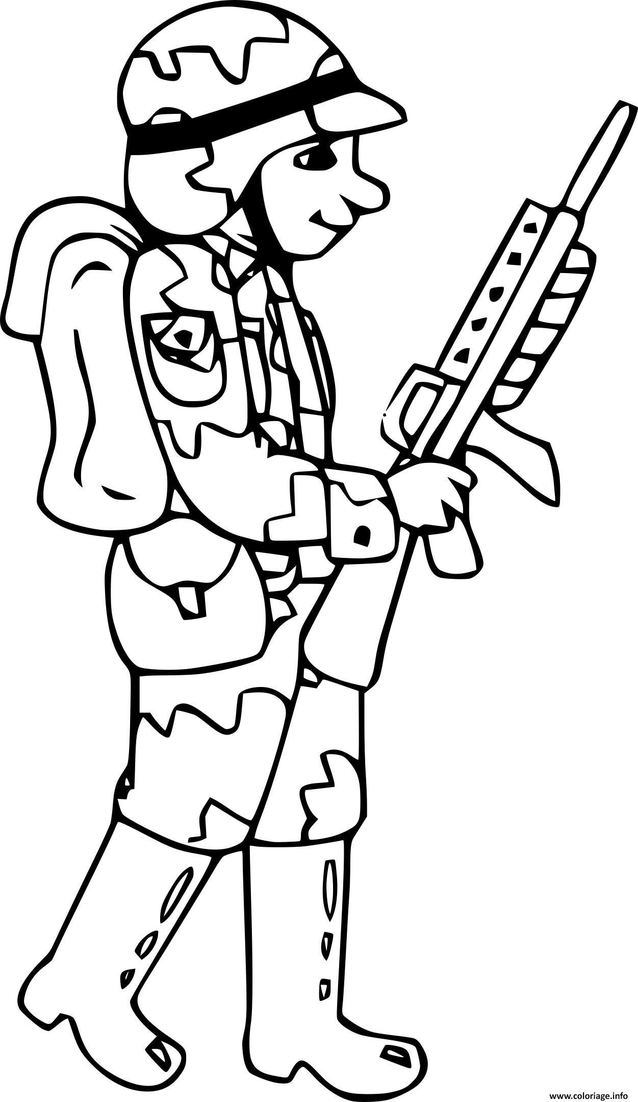 Dessin soldat avec fusil de precision Coloriage Gratuit à Imprimer