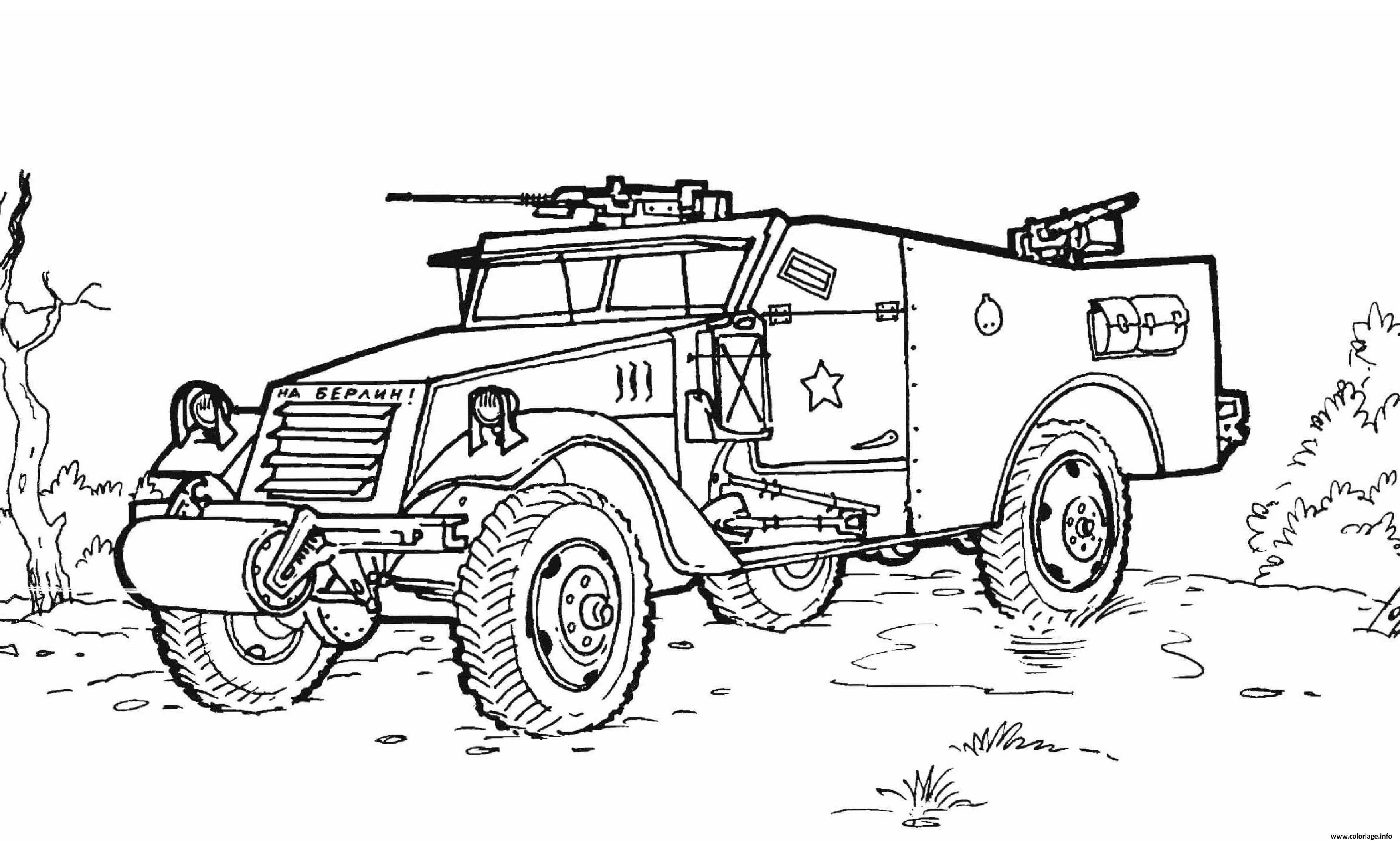 Dessin vehicule militaire avec armes Coloriage Gratuit à Imprimer