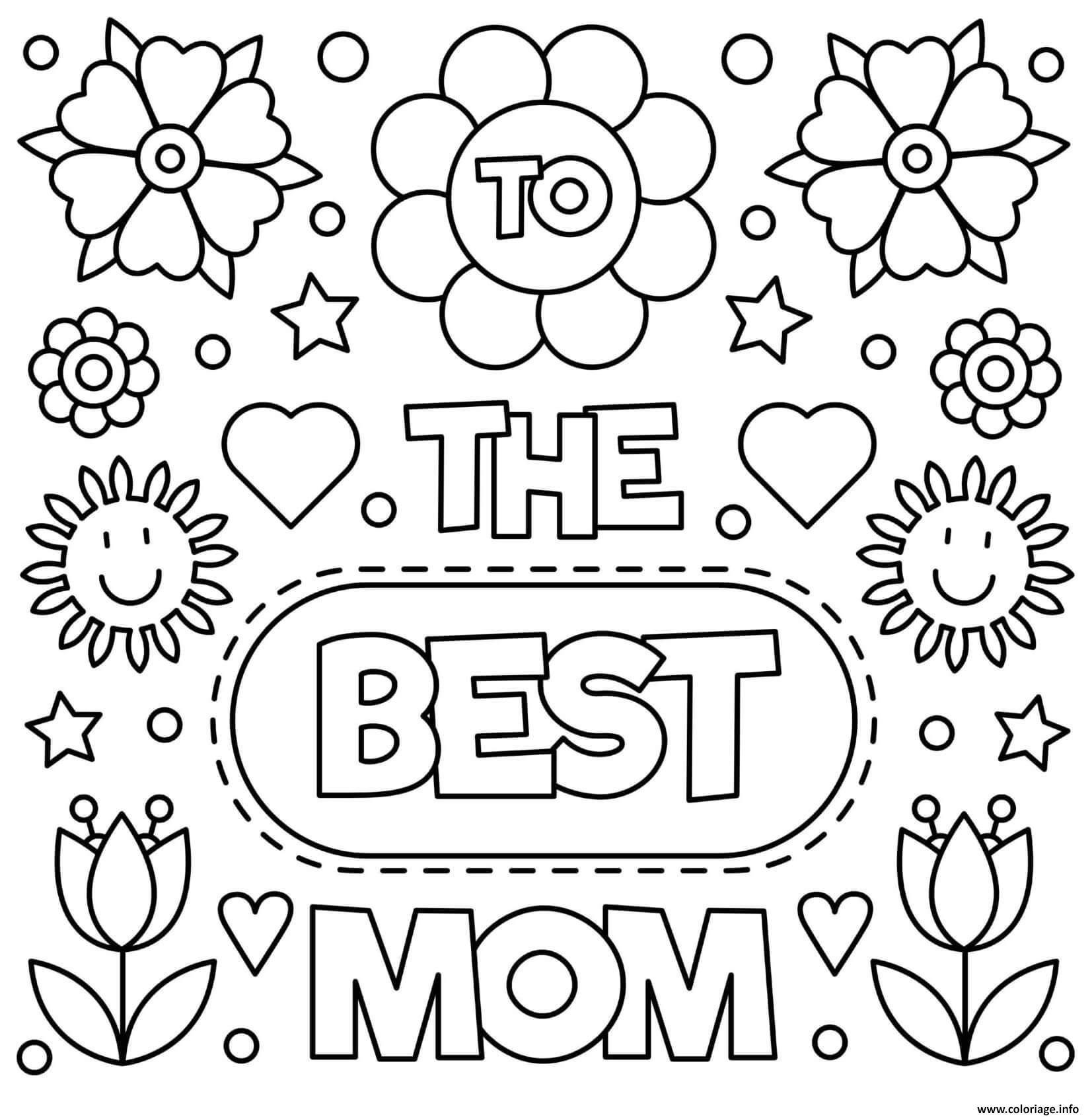 Dessin fete des meres to the best maman fleurs sign Coloriage Gratuit à Imprimer