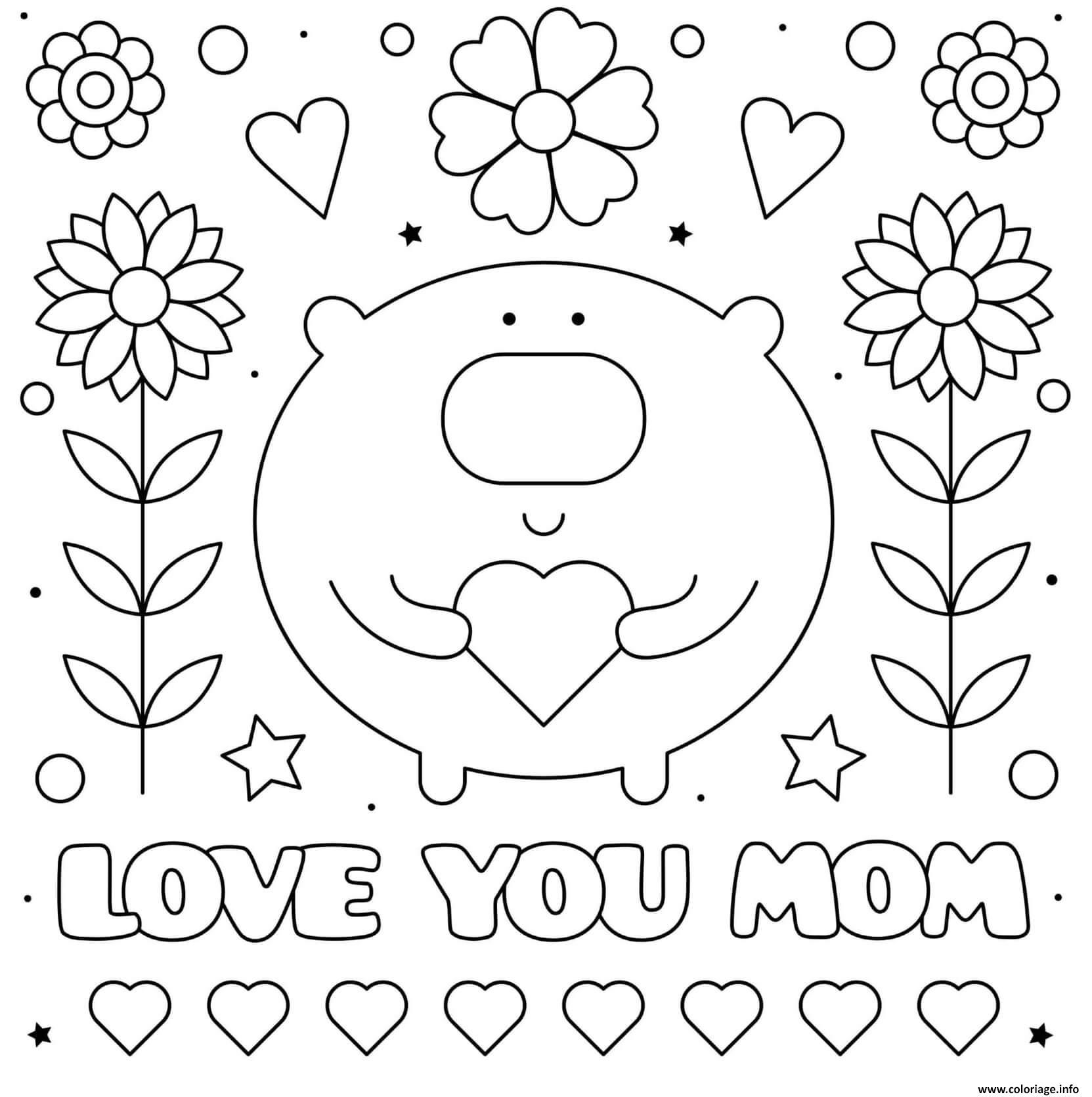 Dessin fete des meres love you maman fleurs coeur cute Coloriage Gratuit à Imprimer