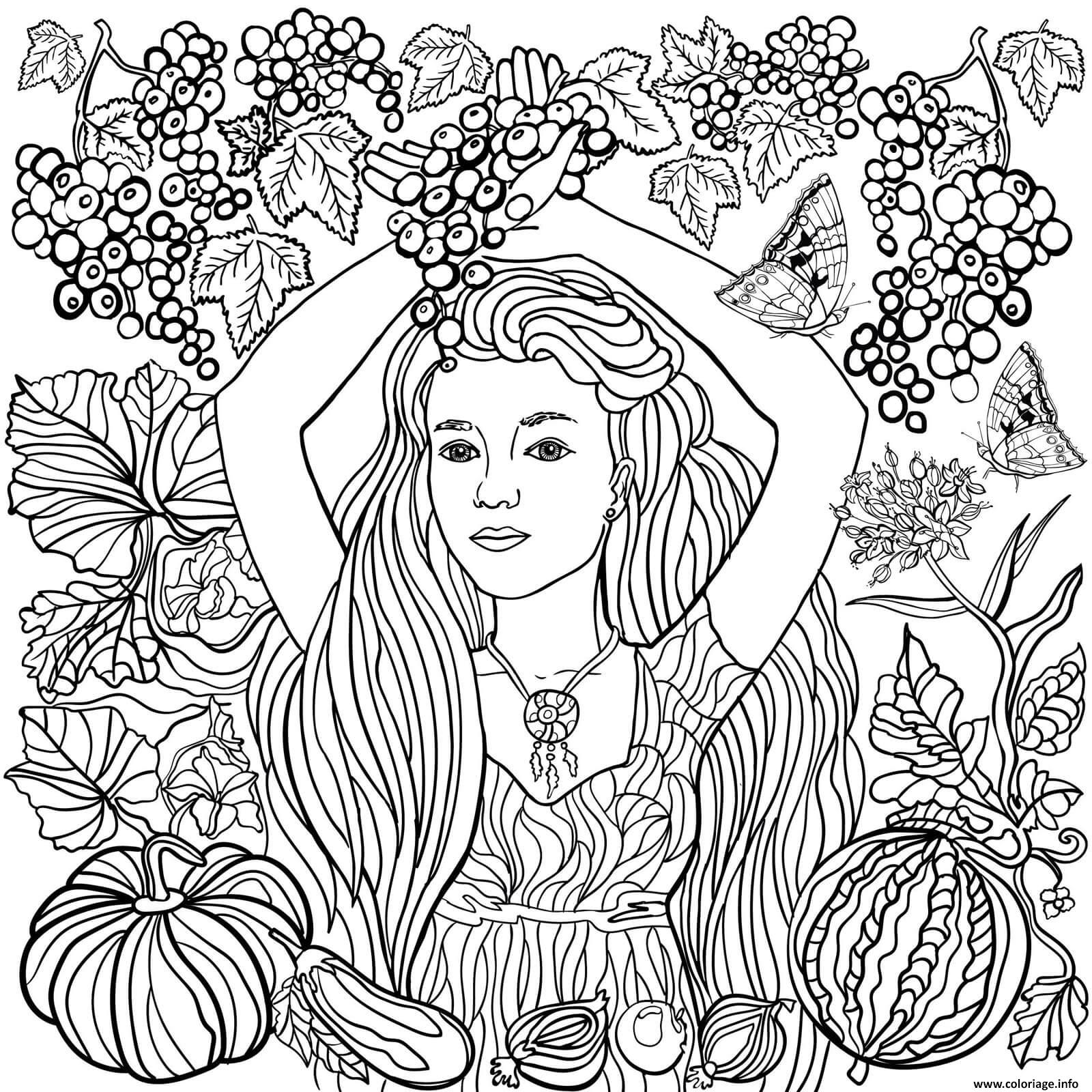 Coloriage fille dans la nature avec des raisins   JeColorie.com