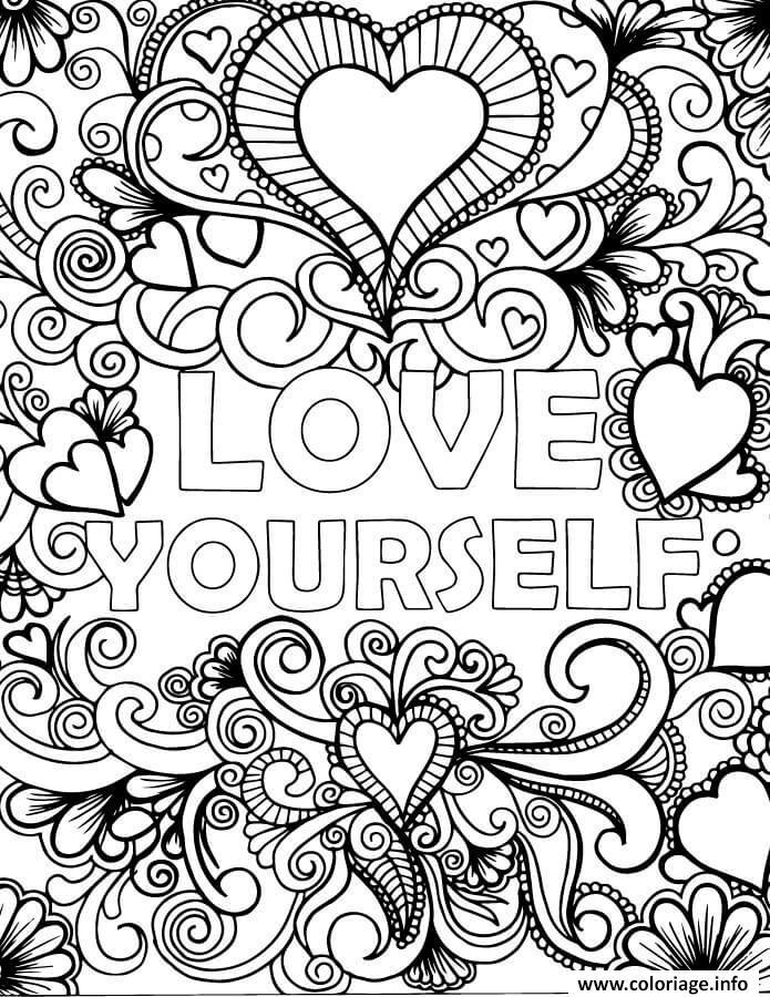 Coloriage Love Yourself Par Artherapie dessin