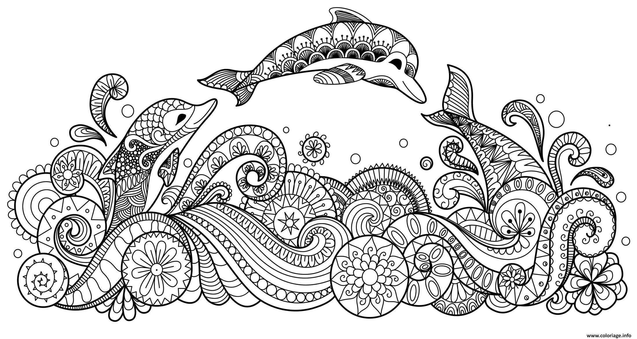 Coloriage Dauphins Mammiferes Marins Dans La Mer Animaux Jecolorie Com