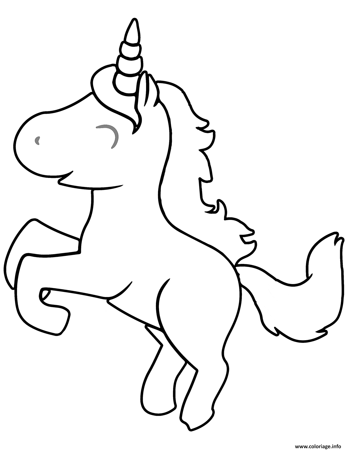 Dessin cute cartoon licorne Coloriage Gratuit à Imprimer