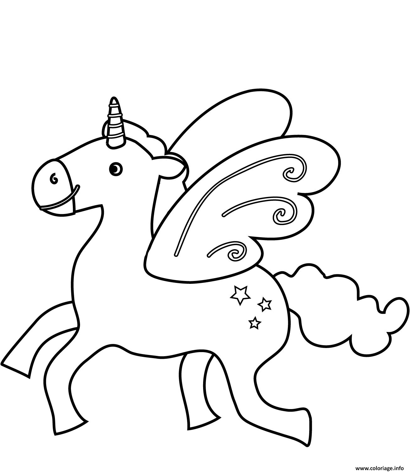 coloriage flying licorne  jecolorie