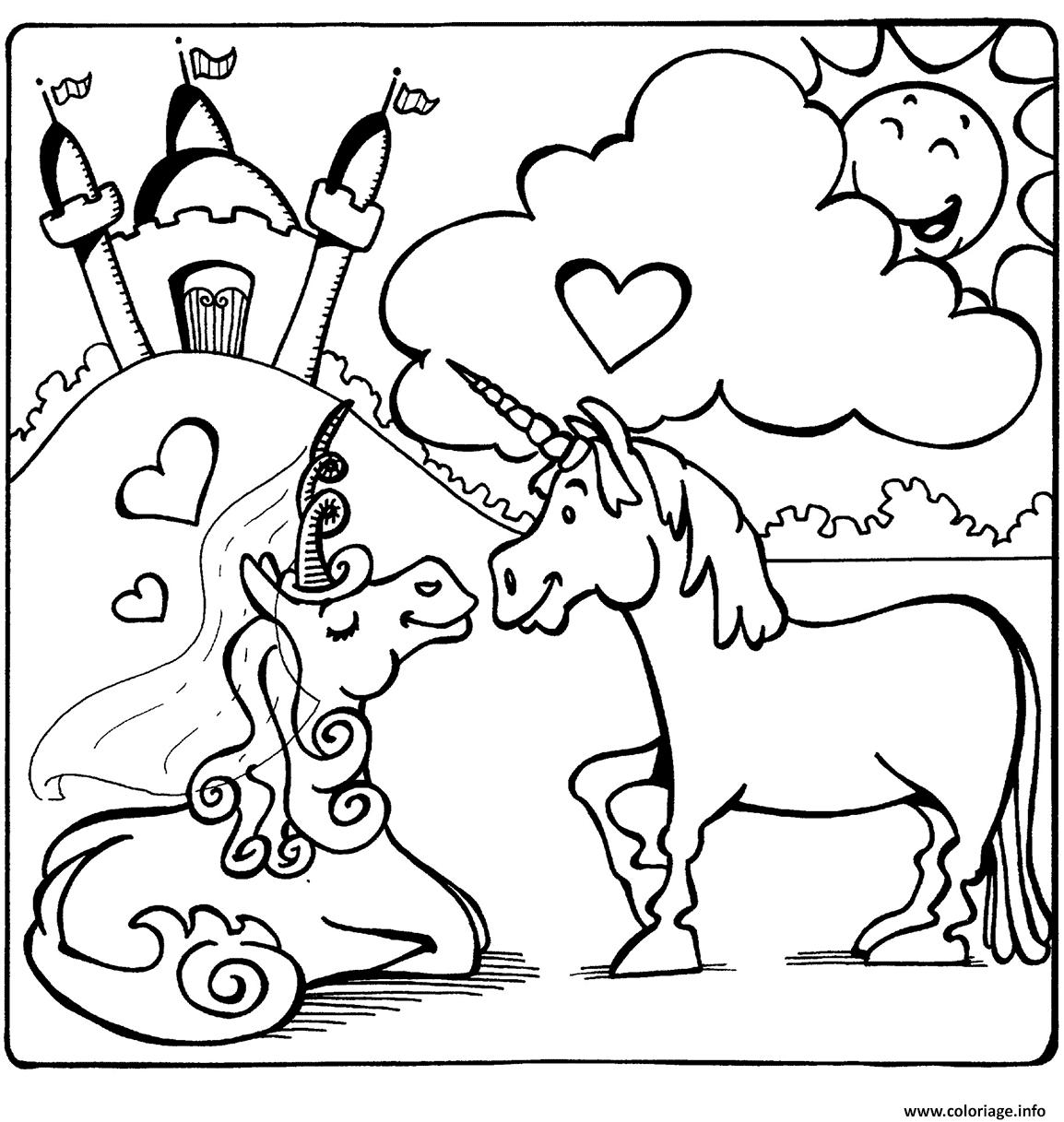 Dessin licornes in love Coloriage Gratuit à Imprimer