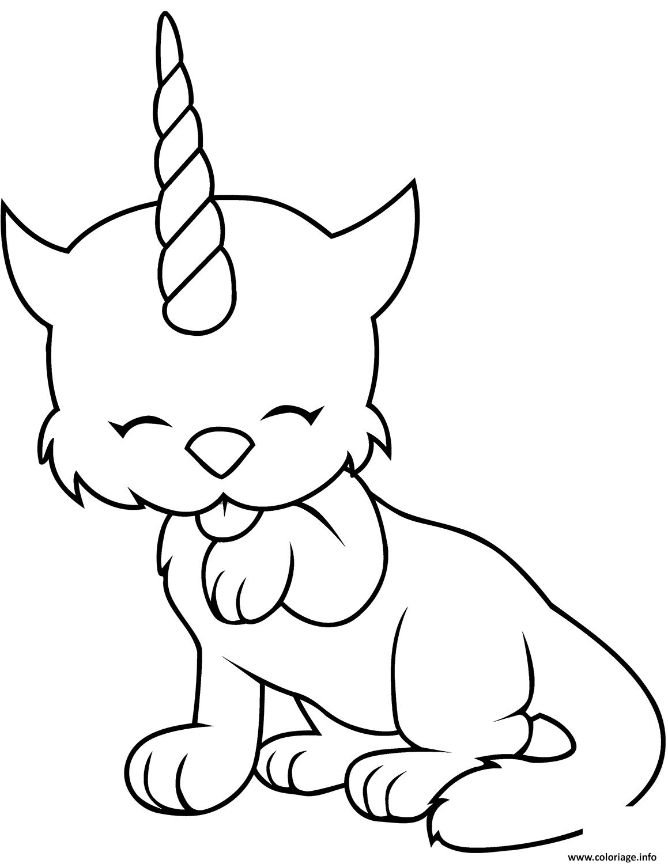 Dessin chat en mode licorne Coloriage Gratuit à Imprimer