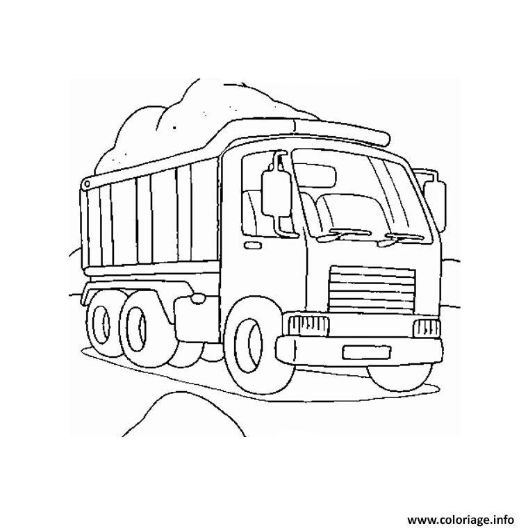 Dessin camion chantier Coloriage Gratuit à Imprimer