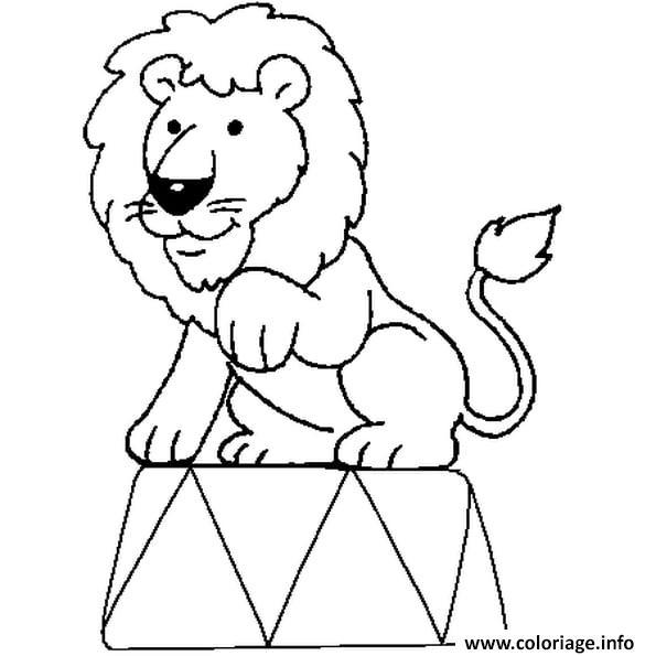 Dessin lion au circle Coloriage Gratuit à Imprimer